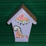 Hand Painted Bird House Light Purple Out Jewels