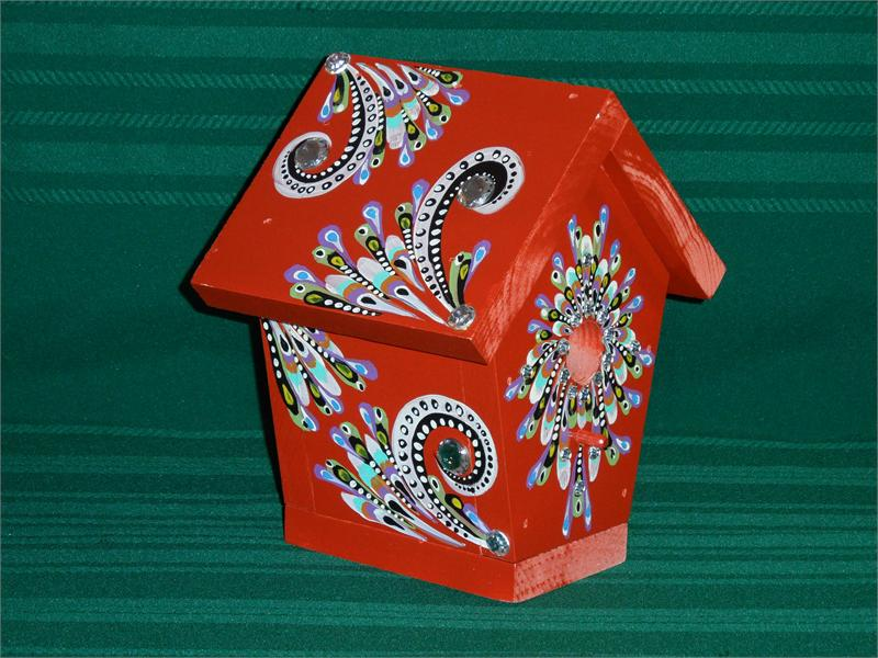 Hand Painted Bird House Red Jewels