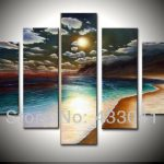 Hand Painted Brown Ocean Waves Oil Painting Piece Wall Canvas Art