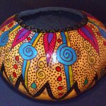 Hand Painted Natural Gourd Bowl Etsy