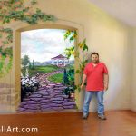 Hand Painted Wall Mural Creates The Illusion Outdoors Depth