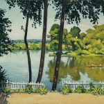 Images For Awesome Painting White Fence Lake Side Wood Oar Boat