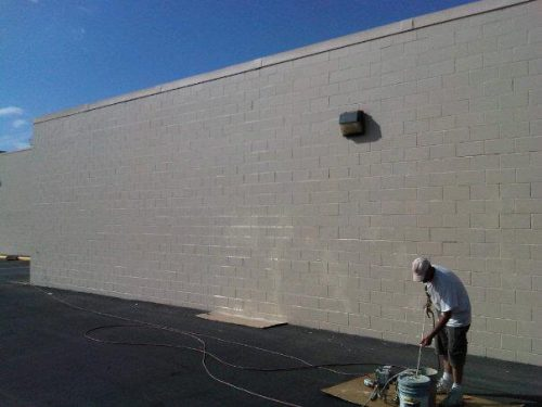 Just Finished Painting Exterior Wall Commercial Building
