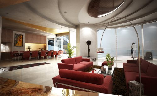 Living Room Arch Digital Art Dimensional Scenes
