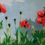 Mary Anne Cary Abstract Poppies Original Oil Painting