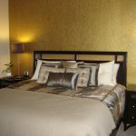 Metallic Gold Paint The Accent Wall Behind Headboard Side