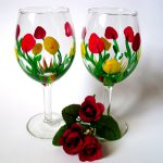 New Hand Painted Wine Glasses