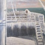 Original Signed Arctic Ship Deck Oil Painting