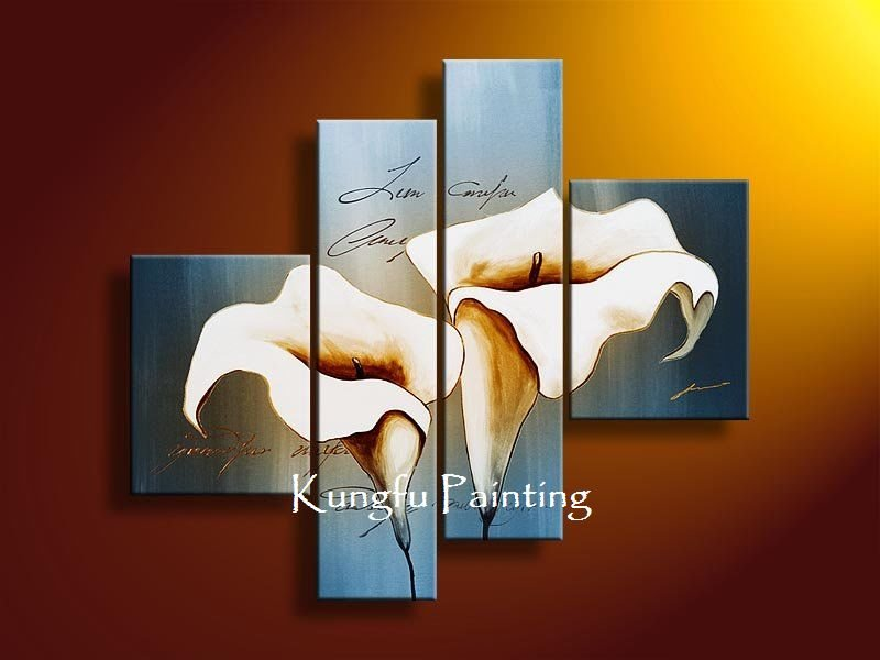 Painted Discount Panel Wall Art Decoration Lily Flower Oil Painting