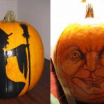 Painted Pumpkins Face And Witch Maryann Heeb