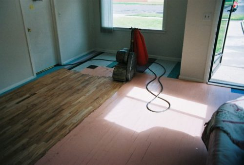 Pecan Floors Revealed Under Pink Paint Drumsander Click The
