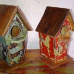Reclaimed Painted Wood Bird House