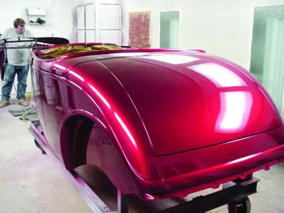 Roadster Body Was Painted Using House Kolor Candy Apple Red