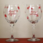 Stenciled Christmas Wine Glasses