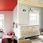 Striped Painted Ceiling Red Paint Color Nursery Design Apartment