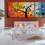 Wall Art Sets Cheap Free Shipping Modern Oil Painting Rich Tree Home