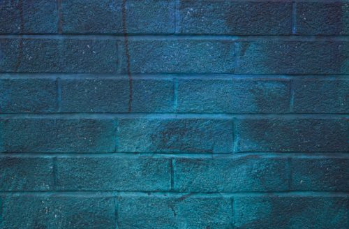 Wall Blue Paint Section Mural Painted Brick
