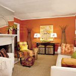Wall Paint And Green Yellow Orange Color Scheme For Living Room