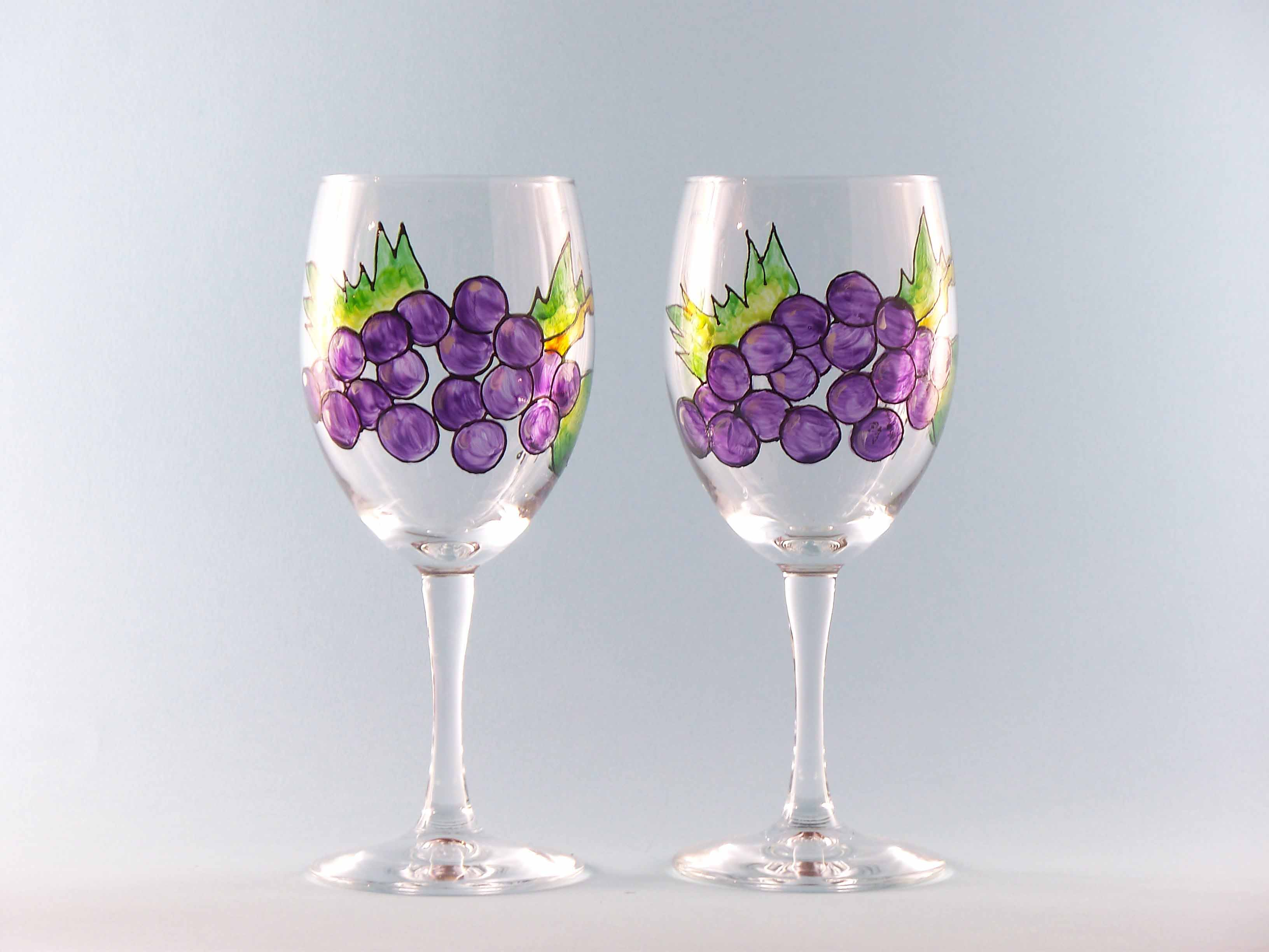 Wine Glasses Grapes Hand Painted Set Two