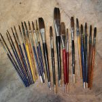 Various Tools And Equipment Used For Painting Signs