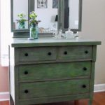After Makeover Wood Makeup Dressing Table Drawer Painted Green Chalk Paint