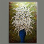 Aliexpress Buy Hand Painted Palette Knife White Flowers Oil Painting Wall Art