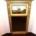 Antique Colonial Village Market House Reverse Painting Wood Trumeau Wall Mirror
