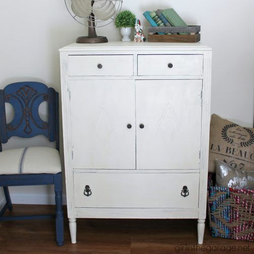 Antique Dresser Old White Chalk Paint Girl