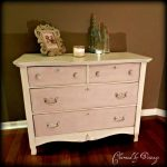 Antique Hand Painted Pink Shabby Dresser