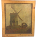 Antique Oil Painting Wood Panels Windmill Wagon People