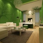 Apartments Contemporary Living Room Design Ideas White Sectional Sofa Green Wall