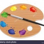 Artists Palette Painting Wood Board Different Colors Paintbrush
