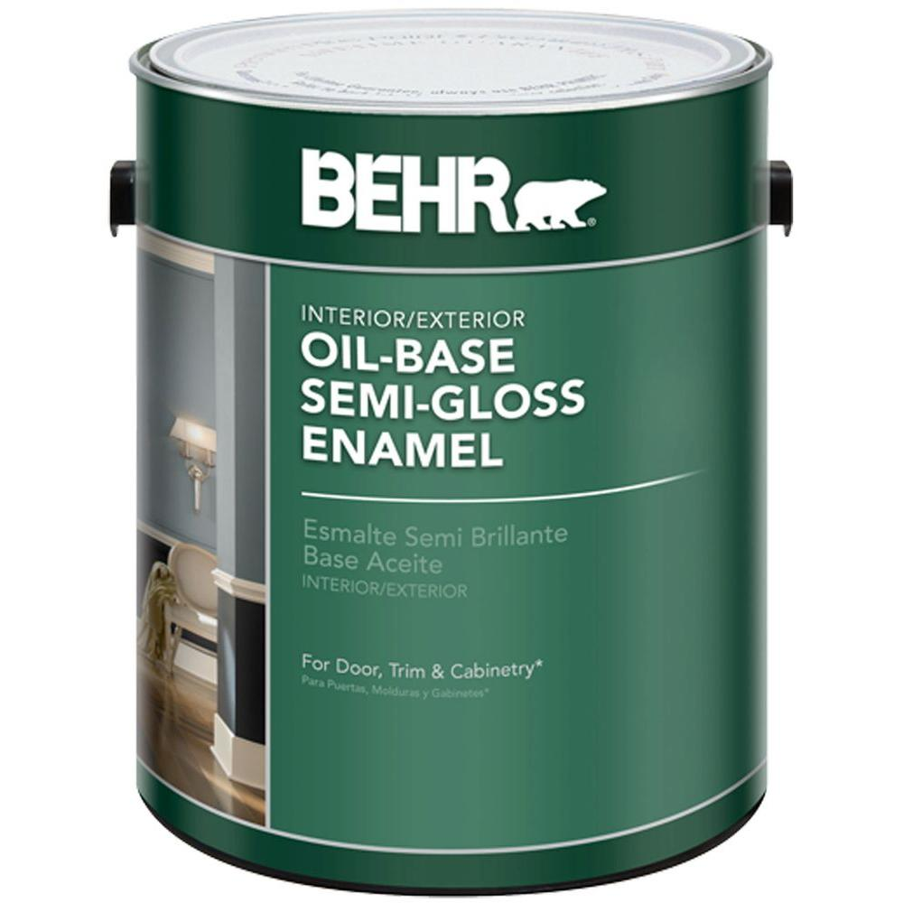 Behr Gal White Semi Gloss Oil Based Interior Exterior Paint Home