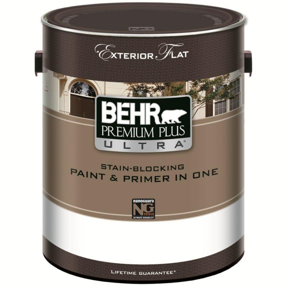 Behr Premium Plus Ultra Exterior Paint Primer One Flat Medium Base