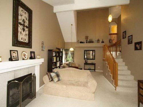 Beige Living Room Paint Color Ideas Two Story Home Design Stylish Wooden Stair