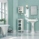 Best Paint Color Bathroom Using Light Blue Wall White Wash Basin