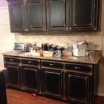 Black Cabinets Faux Distressing Used Different Colors Flat Paint Create