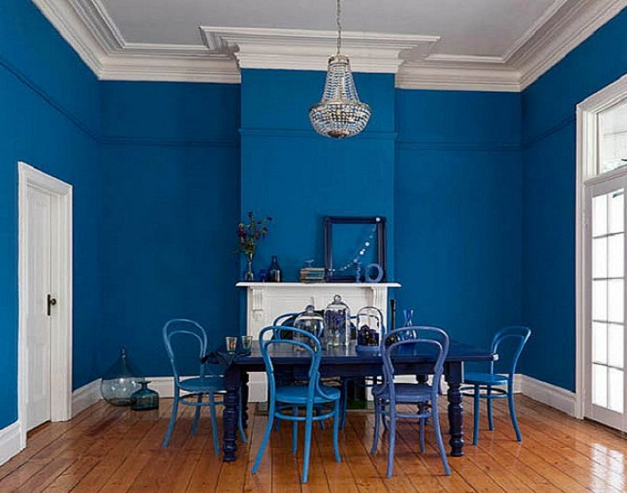 Bold Blue Interior Paint Color Dining Room House Painting