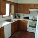 Brown Painted Kitchen Cabinets White Appliances