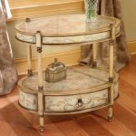 Butler Oval Accent Table Tuscan Cream Hand Painted End Tables
