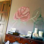 Captivating Diy Wall Painting Installed Beige Painted Placed Near Wooden
