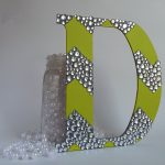 Chevron Painted Wooden Letter Rhinestone
