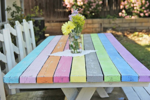 Colorful Picnic Table Makeover Craft Little Miss