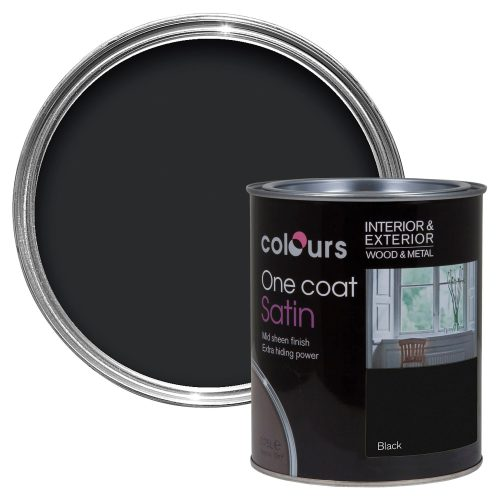 Colours One Coat Interior Exterior Black Satin Wood Metal Paint Departments