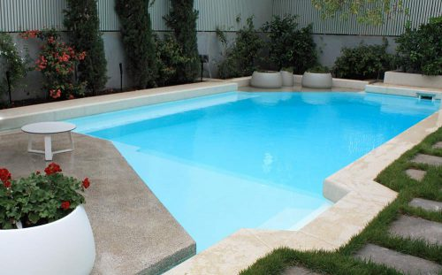 Concrete Swimming Pool Painted Luxapool Epoxy Paint White Minke