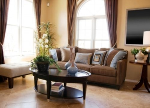 Contemporary Living Room Interior Design Ideas Beige Wall Color Paint Brown