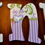 Custom Hand Painted Wooden Letters Lilac Green