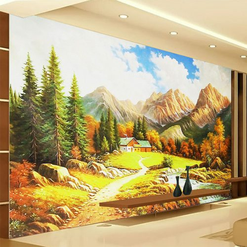 Custom Mural Wall Paper Landscape Oil Painting Fresco Nature Living