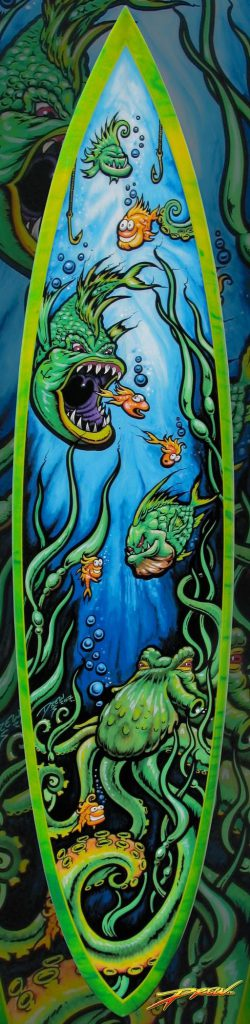 Custom Painted Surfboard Fine Art Drew