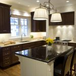 Dark Cabinets White Backsplash Kitchen Traditional Space Saddle Seat Counter Height